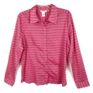 Sundance | Pink Striped Button Down Shirt